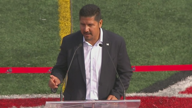 Calvillo speaks during retirement ceremony