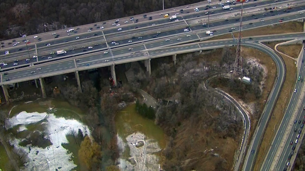 Human remains were found in a wooded area near Highway 401 and Yonge Street in Toronto.