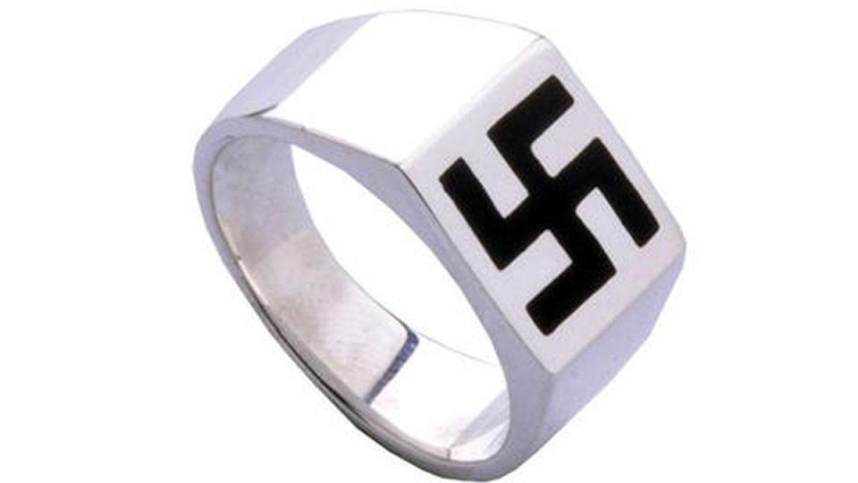 A ring with a 'sideways swastika' is shown in this image retrieved from a cached Sears webpage on Tuesday, Oct. 14, 2014.