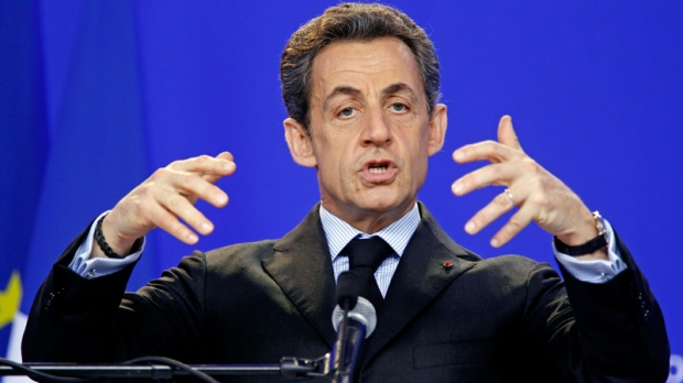 French President Nicolas Sarkozy gestures while speaking during a media conference after an EU Summit in Brussels on Friday, March 2, 2012. (AP / Remy de la Mauviniere)