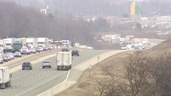Traffic is backed up on Highway 401 after a crash near Drumbo, Ont. on Friday, March 2, 2012.