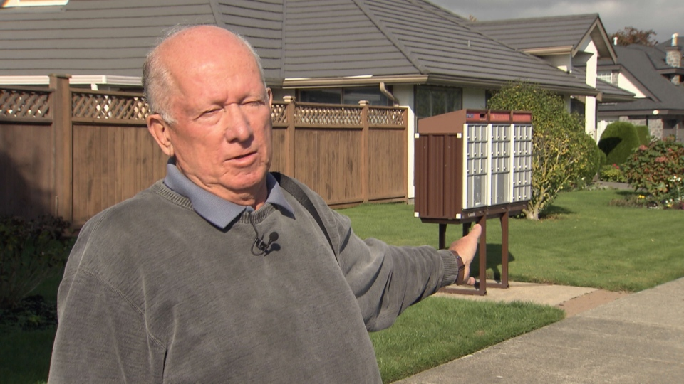 Delta resident Roger Meyer says he's upset that his community mailbox was mistakenly left unlocked and that it took Canada Post four days to send someone to secure the unit. Oct. 14, 2014. (CTV)