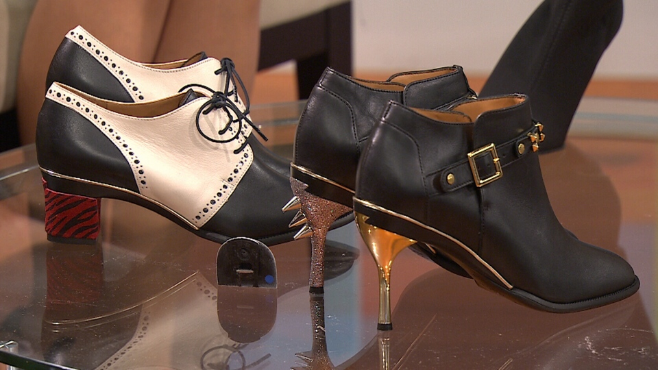 Pairs of Tanya Heath's shoes are shown with different heels on CTV's Canada AM on Wednesday, Oct. 15, 2014.