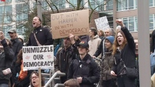 The first of a series of protests planned across Canada to protest the robocall scandal got underway Saturday afternoon in downtown Vancouver.