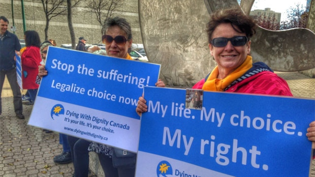 A Dying with Dignity rally was held on Oct. 15, 2014 outside the Law Courts in Winnipeg, Man.