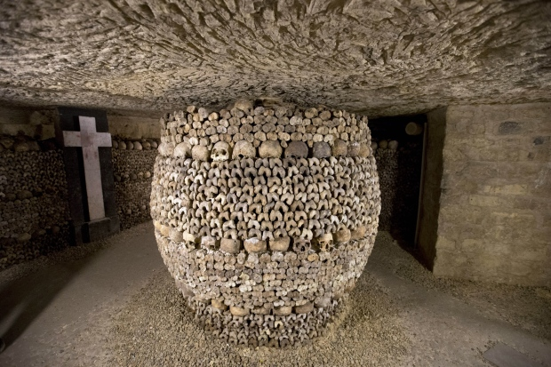 Paris is adding to the spooky atmosphere of these 2 km-long subterranean tunnels that cradle the bones of some 6 million Parisians from centuries past by keeping them open until 8 p.m.<br><br>Skulls and bones are stacked at the Catacombs in Paris, France Tuesday, Oct. 14, 2014. (AP / Francois Mori)
