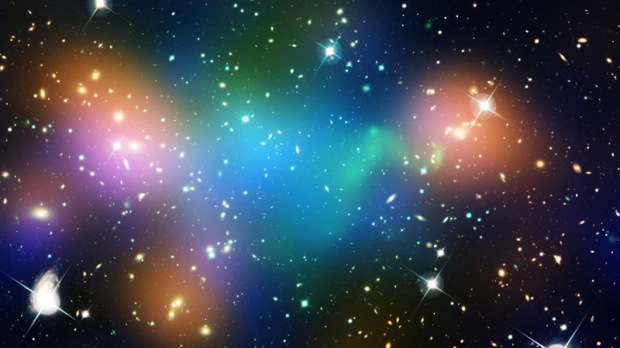 This composite image shows the distribution of dark matter (blue), galaxies, starlight from the galaxies (orange) and hot gas (green) in the core of the merging galaxy cluster Abell 520, formed from a violent collision of massive galaxy clusters.  The image makes use of data from the Hubble Space Telescope, the Canada-France-Hawaii Telescope in Hawaii, and the NASA's Chandra X-ray Observatory. (NASA, ESA, CFHT, CXO, M. J. Jee (University of California, Davis), and A. Mahdavi (San Francisco State University, California))