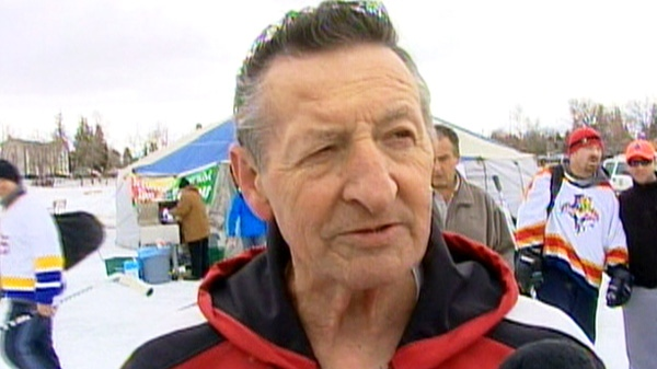 Walter Gretzky speaks with CTV News at an outdoor pond hockey event in this undated photo.
