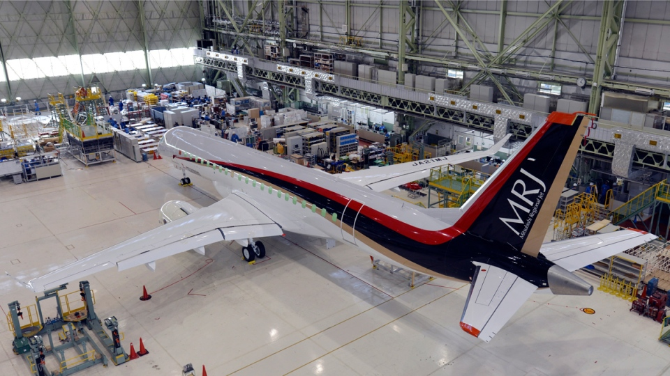 Mitsubishi's new regional jet MRJ in Komaki, Japan, on June 26, 2014. (AP / Mitsubishi Aircraft Corp)