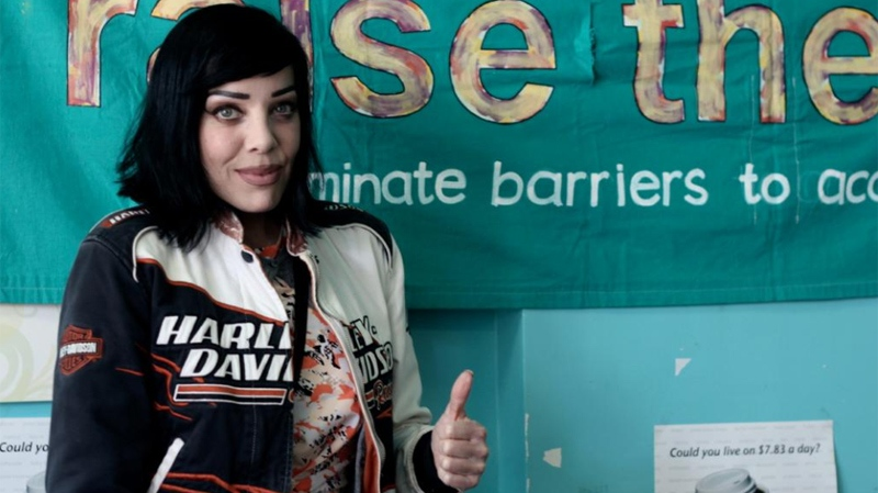 Canadian singer Bif Naked has accepted the B.C. Welfare Challenge to live off of $3 a day. (Carnegie Community Action Centre)