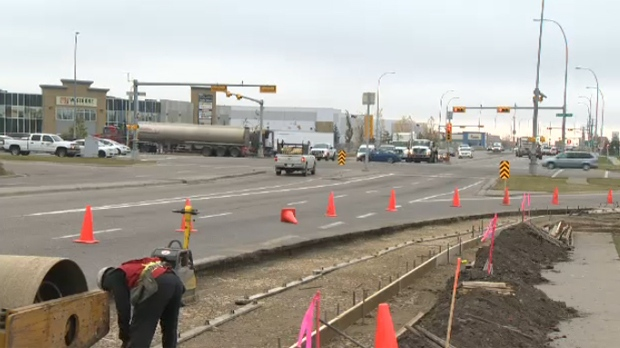 Construction is underway to extend the right hand turn lane connecting eastbound 114 Ave. S.E. with southbound Barlow Trail