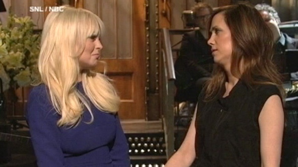Lindsay Lohan, left, and Kristin Wiig are seen on an episode of Saturday Night Live, Saturday, March 3, 2012.