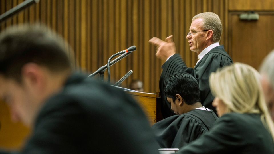 Chief State Prosecutor Gerrie Nel presents his closing arguments in court for the last day of the Oscar Pistorius sentencing hearing in Pretoria, Friday, Oct. 17, 2014. (AP / Mujahid Safodien)