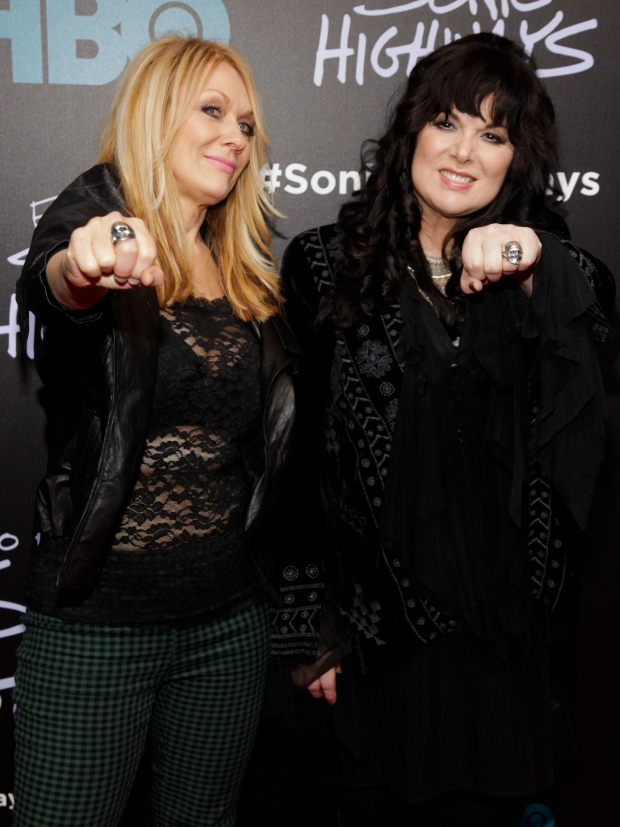 Nancy Wilson, left, and Ann Wilson attend the premiere of HBO's 'Foo Fighters Sonic Highway' in New York on Tuesday, Oct. 14, 2014. (Andy Kropa / Invision)