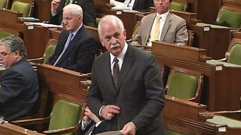Minister of Public Safety Vic Toews speaks in the House of Commons on Parliament Hill in Ottawa on Tuesday, March 6, 2012.