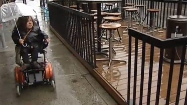 10 cm too far. Wheelchair users filed Human Rights Complaints when they could not access terrasses.