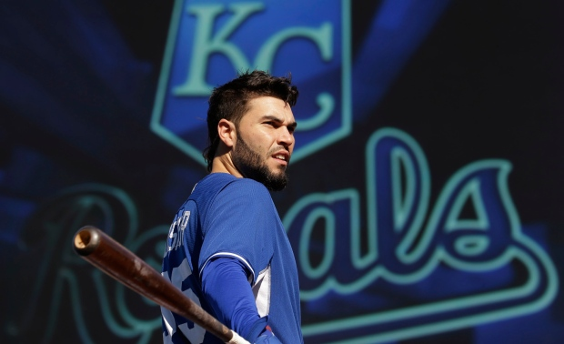 Eric Hosmer gets ready to bat during practice in Kansas City, Mo., on Friday, Oct. 17, 2014 (The Associated Press / Charlie Riedel)