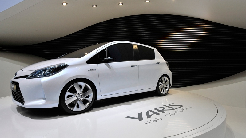 The new Toyota Yaris S Hybrid Concept car is shown during the press day at the 81st Geneva International Motor Show in Geneva, Switzerland, Wednesday, March 2, 2011. (Keystone / Martial Trezzini)