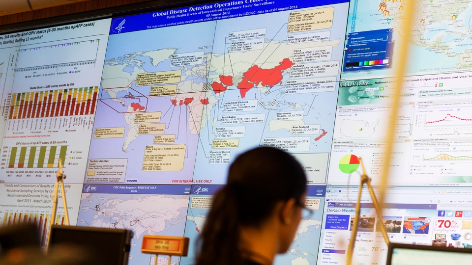 A map showing global health issues under the surveillance at the U.S. Centers for Disease Control and Prevention is seen in the agency's Emergency Operations Center in Atlanta, Aug. 5, 2014. (AP / David Goldman, File)