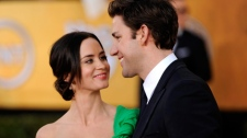 Emily Blunt, left, and John Krasinski arrive at the 18th Annual Screen Actors Guild Awards in Los Angeles on Sunday, Jan. 29, 2012. (AP / Chris Pizzello)