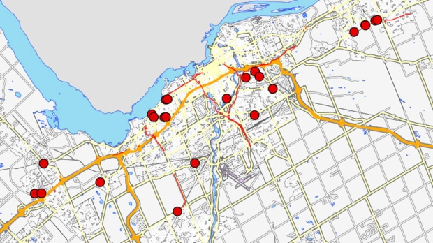 This map shows where the robberies in Ottawao occurred Tuesday, March 6, 2012.
