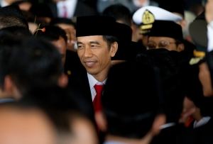 Indonesia's seventh President Joko Widodo is congratulated by well-wishers following his inauguration at Parliament in Jakarta, Indonesia, Monday, Oct. 20, 2014. (AP / Mark Baker)