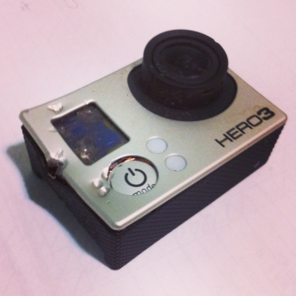 John Kitchin's GoPro camera has seen better days after a grizzly encounter on Vancouver Island. Oct. 20, 2014. (Courtesy John Kitchin)