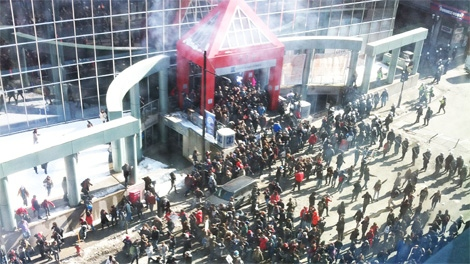 MyNews contributor Erinn Bergeron shared this photo of Montreal riot police firing tear gas at student protest in Montreal on Wednesday, March 7, 2012. (MyNews.CTV.ca / Erinn Bergeron)