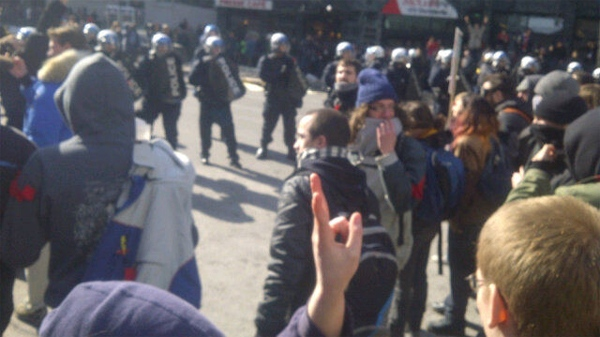 Students marched to Loto Quebec HQ on Sherbrooke St. in Montreal (March 7, 2012)