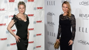 In this combined image, actress Renee Zellweger is pictured on the left in Beverly Hills, Thursday, Oct. 16, 2008 and on the right in Los Angeles, on Monday, Oct. 20, 2014. (AP / Gus Ruelas / Jordan Strauss)