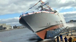 Canada AM: Ship's side launch goes awry