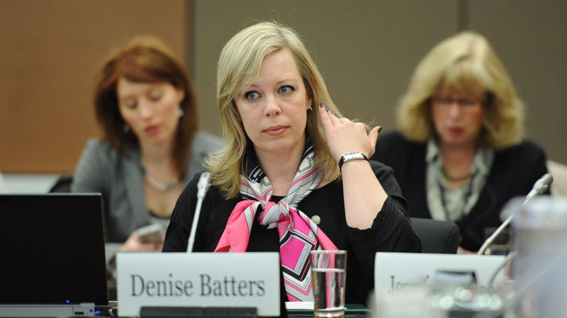 Denise Batters, wife of Regina MP Dave Batters who killed himself while on leave for depression, appears as a witness at a commons health committee on mental illness in Ottawa on Thursday, March 8, 2012. (Sean Kilpatrick / THE CANADIAN PRESS)