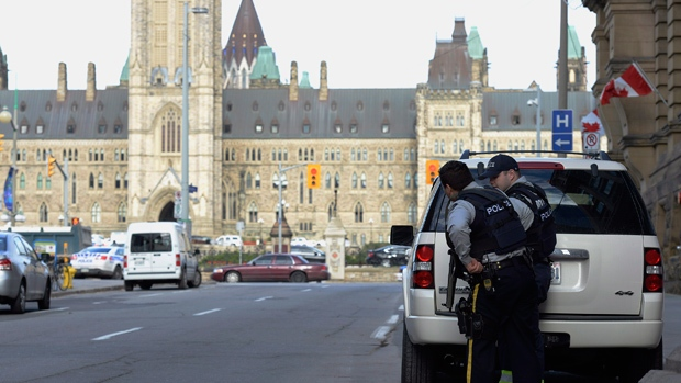 Police secure area around Parliament Hill, Ottawa