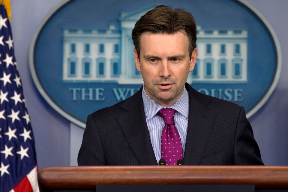 White House press secretary Josh Earnest speaks during his daily news briefing at the White House in Washington, Wednesday, Oct. 22, 2014, where he spoke about the shootings in Canada and answered questions about Ebola. (AP / Jacquelyn Martin)