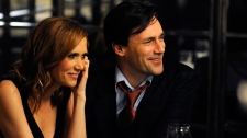 Kristen Wiig, left, and Jon Hamm are shown in a scene from Roadside Attractions' 'Friends with Kids.'