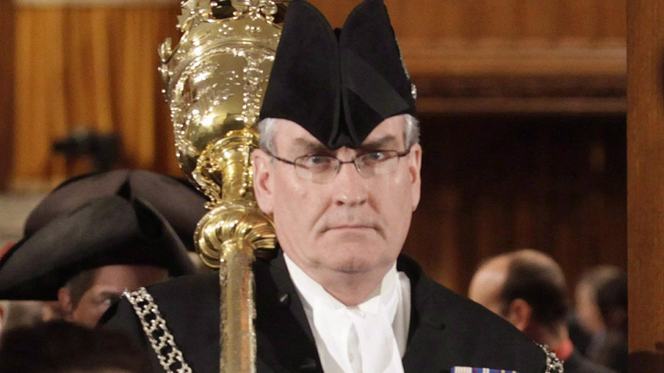 Sergeant-at-arms Kevin Vickers of the House of Commons leads MPs out of the House of Commons on Parliament Hill in Ottawa on Wednesday, March 3, 2010. (Pawel Dwulit / THE CANADIAN PRESS)