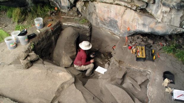Sonia Zarriollo during an excavation in Peru