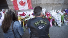 Veteran at a memorial for Cpl. Nathan Cirillo