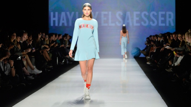 <b> Hayley Elsaesser Collection</b><br><br>A model walks the runway wearing the collection of Hayley Elsaesser during Toronto Fashion Week in Toronto on Wednesday, October 22, 2014. (Nathan Denette / THE CANADIAN PRESS)