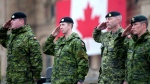 Canadian Forces members salute during the National Day of Honour on Parliament Hill in Ottawa on Friday, May 9, 2014. (Justin Tang / THE CANADIAN PRESS)