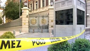 The office of the Consulate General of Canada in Istanbul is closed after it received a package containing yellow powder, Friday, Oct. 24, 2014. (Reuters)
