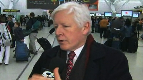 Liberal interim leader Bob Rae spoke to CP24 at Pearson International Airport on Friday, March 9, 2012.