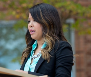 Patient Nina Pham speaks outside of National Institutes of Health (NIH) in Bethesda, Md., Friday, Oct. 24, 2014. (AP Photo/Pablo Martinez Monsivais)