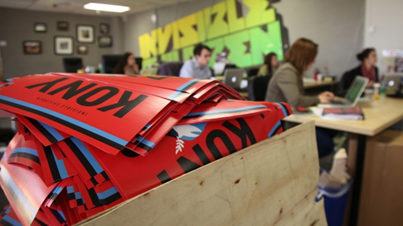 A box full to the brim with KONY 2012 campaign posters are shown Thursday March 8, 2012 at the Invisible Children Movement offices in San Diego. (AP / John Mone)
