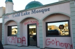 A mosque in Cold Lake, Alta. is shown after vandals smashed its windows and spray-painted its exterior on Friday, Oct. 24, 2014. (Cold Lake Sun)