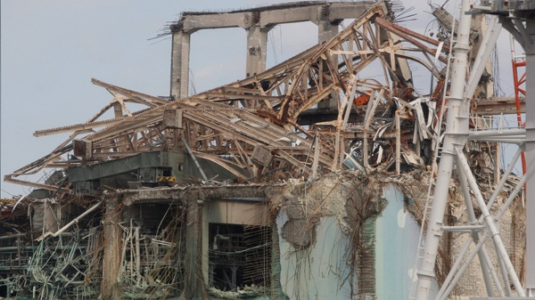 Destroyed unit 3 reactor building of Tokyo Electric Power Co.'s tsunami-crippled Fukushima Dai-ichi nuclear power plant is seen in Fukushima prefecture, northeastern Japan, Monday, Feb. 20, 2012. (AP / Issei Kato)