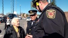 Hazel McCallion at scene of warehouse fire