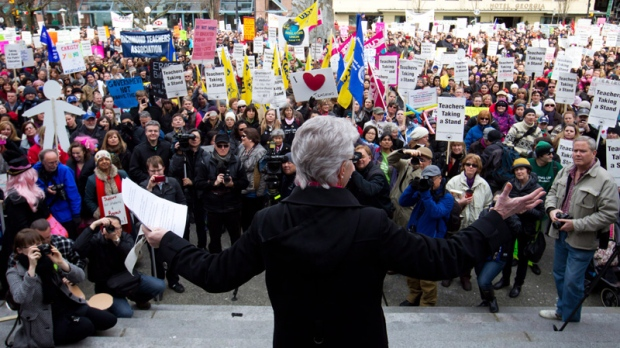 British Columbia Teacher's Federation president Susan Lambert addresses striking teachers and other supporters during a rally on the final day of a three-day province wide walkout in Vancouver, B.C.