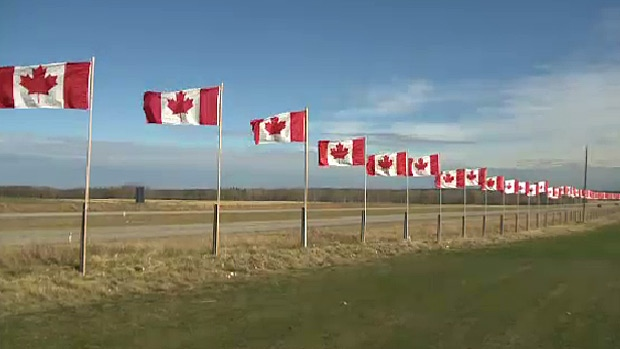 HIghway 11 Canadian flags