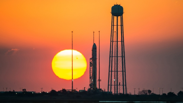 The Orbital Sciences Corporation Antares rocket, with the Cygnus spacecraft onboard, is seen on launch Pad-0A during sunrise at NASA's Wallops Flight Facility in Virginia Sunday, Oct. 26, 2014. (NASA)